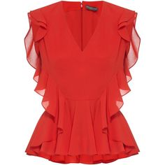 ALEXANDER MCQUEEN Ruffle Trim Silk Top ❤ liked on Polyvore featuring tops, frilly tops, red ruffle top, flutter-sleeve top, frill top and holiday party tops