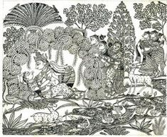 Bijay Parida - Radha Krishna in Raas : Gopis Watching @ The Dancing Line by Bijay Parida Krishna Painting, Krishna Art, Krishna Lila, Bal Krishna, Indian Traditional Paintings, Indian Art Paintings, Traditional Art, Madhubani Art, Madhubani Painting