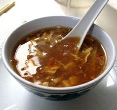 Spicy Hot And Sour Soup Recipe - maybe a little less vinegar next time & firm tofu tasted good!