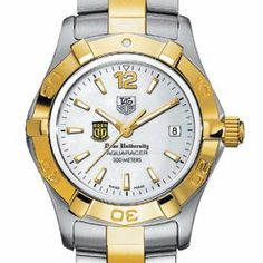 """Duke University TAG Heuer Watch - Women's Two-Tone Aquaracer Watch by TAG Heuer. $2395.00. Authentic TAG Heuer watch only at M.LaHart & Co.. Swiss-made Quartz movement.. Officially licensed by Duke University. TAG Heuer international two-year warranty. Unique TAG Heuer presentation box.. Duke University TAG Heuer women's Aquaracer watch with Duke Shield in gold and black; """"Duke University"""" is written underneath. Brushed steel and polished gold-plated (20 karat..."""