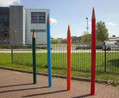 We love the idea of pencils to draw lines around a playground!  Certain to colour their imagination!