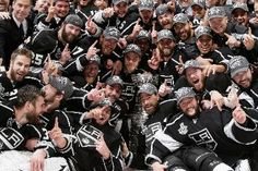 The Jubilant LA Kings pose for a team photo after winning their 1st Stanley Cup Championship