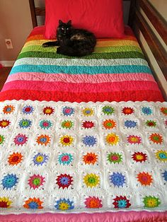 Yarning is sharing this colorful granny square pattern. I fell in love with this blanket the first time I saw it. I have been working these. Manta Crochet, Knit Or Crochet, Crochet Granny, Rainbow Bedding, Rainbow Quilt, Yarn Projects, Crochet Projects, Cute Blankets, Crocheted Blankets