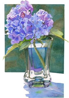 Hydrangea watercolor art painting giclee print 1116 floral still life cool violets glass reflections gifts Phyllis Nathans Watercolor Art Paintings, Watercolor Illustration, Watercolor Flowers, Watercolor Artists, Watercolor Portraits, Watercolor Landscape, Watercolor Paper, Watercolors, Hydrangea Painting