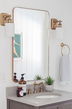Coastal Bathroom wood vanity gray tile white paneled walls White Paneling, Paneled Walls, Pool House Bathroom, Pink Toilet, Blogger Home, Coastal Bathrooms, Wood Vanity, Beach House Decor, Home Decor