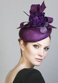 aff0c88717e2f Rachel Trevor Morgan Millinery Spring Summer 2016 R1697 Purple parisisal  pillbox with flower and bows Millinery