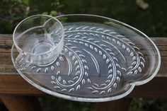 1950/'s-1960/'s Anchor Hocking Colonial Lady Snack Plates Made in USA Set of 3 Plates Clear Glass with Circular Design