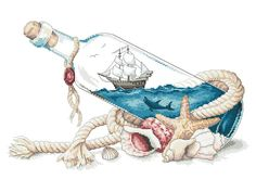 Diy Embroidery, Cross Stitch Embroidery, Cross Stitch Designs, Cross Stitch Patterns, Anchor Drawings, Cross Stitch Sea, Beach Clipart, Ocean Canvas, Make Pictures