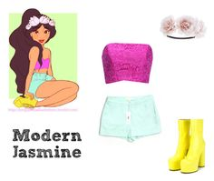 """""""Modern Jasmine"""" by we-are-walt-disney ❤ liked on Polyvore featuring Disney, Vetements, Fame & Partners, modern, yellow, Flowers and aladdin"""