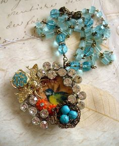 "Good use of old components. A good way to use up all those ""orphaned"" pieces of jewelry and bits and pieces."