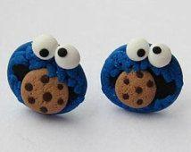 Polymer Clay Earrings, Stud Earrings, Funny Earrings, Cookie Monster Earrings, The Muppet Show, Sesame Street Earrings, Blue Earrings, Fimo
