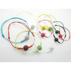 Candy Color Wax String Rope Chain Clay Crystal Ball Shamballa Bracelets