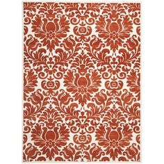 $188/ 8x10 rug Porcello Damask Ivory/ Red Rug (6' 7 x 9' 6)