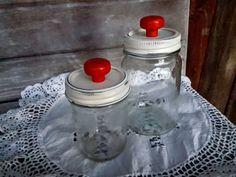 vintage kerr glass mason jars x2 upcycle painted metal red