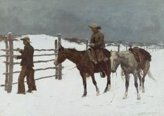This Frederic Remington hangs in our kitchen and is one of my favorite paintings.