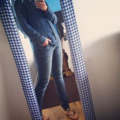 How to rock the Canadian tuxedo. Style. Denim. Guess shirt. Target skinny jeans and sandals.