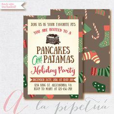 Christmas Invitation, Pancakes and Pajamas Invitation, Christmas Party. Christmas breakfast invite PRINTABLE, Holiday Invite