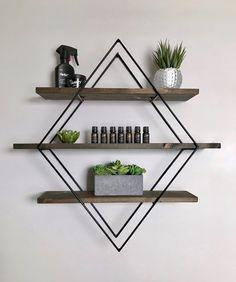 This item is unavailable : Custom Diamond Shelf Floating Shelf Handmade Wood & Metal Glass Shelves, Wall Shelves, Floating Shelves, Diy Bedroom Decor, Living Room Decor, Diy Home Decor, Metal Walls, Wood And Metal, Geometric Wall