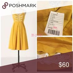 Anthro Anchors Aweigh Halter Nautical Summer Dress Yellow halter dress by Floreat with side pockets. Falls below knees. SIze 4 NWT 🚫Trade 🚫Modeling Anthropologie Dresses Midi