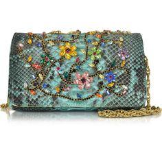 Ghibli Handbags Turquoise Python Mini Crossbody Bag w/Multicolor... ($1,375) ❤ liked on Polyvore featuring bags, handbags, shoulder bags, mini shoulder bag, chain shoulder bag, shoulder handbags, hand bags and chain strap purse