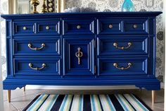 Hey, I found this really awesome Etsy listing at https://www.etsy.com/listing/186352345/vintage-navy-blue-dresser-buffet-media
