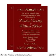 Marcella  Wedding Invitation 60% off #deepredweddign
