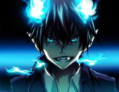 brunettes flames blue dark anime boys Ao no Exorcist Okumura Rin / 990x768 Wallpaper