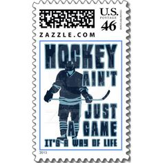 Hockey Ain't Just A Game, It's A Way Of Life Postage Stamps, on Zazzle