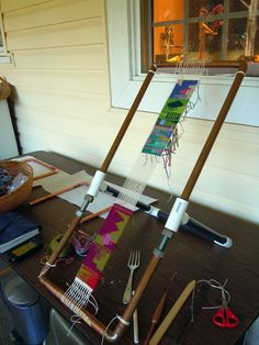 A copper pipe loom made by Tomme Scanlin. Rebecca Mezoff, Tapestry Artist: Tapestry workshop looms
