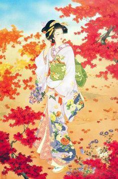 Japanese Woman Among Fall Leaves | Tattoo Ideas Inspiration - Japanese Art | Haruyo Morita | #Japanese #Art