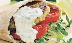 Chickpea Burgers & Tahini Sauce Cheap & Easy Quick Dinner Recipes from for a week's worth or more of healthy dinners. Burger Recipes, Sauce Recipes, Vegetarian Recipes, Cooking Recipes, Healthy Recipes, Healthy Dinners, Chickpea Recipes, Bean Recipes, Cooking Tips