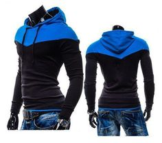 TWO-TONE PULLOVER HOODIE (BLACK WITH BLUE HOOD)