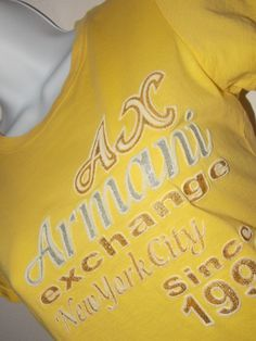 ARMANI EXCHANGE New York City 91 Graphic T Shirt Bling Lettering Size S Yellow  #AXArmaniExchange #GraphicTee SOLD