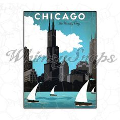 Chicago Lakefront Windy City Vintage Travel Poster DIGITAL DOWNLOAD by whimsysnaps, $2.50