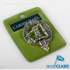Carmichael Clan Crest Pewter Badge. Free worldwide shipping available