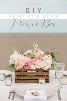 DIY Paint Stir Stick Flower Box 2019 This adorable Flower Box is made of FREE paint stirring sticks from the hardware store!weddingchicks The post DIY Paint Stir Stick Flower Box 2019 appeared first on Flowers Decor. Stick Centerpieces, Rustic Wedding Centerpieces, Diy Wedding Decorations, Wedding Table, Centerpiece Ideas, Wedding Ideas, Boquette Wedding, Centerpiece Flowers, Diy Flower Boxes