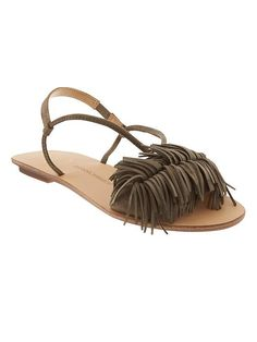 Rock the fringe trend in our sleek olive suede sandal. Pair with a flowy spring dress or slim black jeans for a fun Spring outfit | Banana Republic