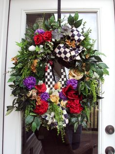 wreath door wreath Rustic Country Spring Summer Rooster Tuscan Mackenzie Childs Ribbon Door Wreath. $199.99, via Etsy.