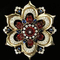 Trifari 'Alfred Philippe' Moghul Jewels Star Flower Pin Clip