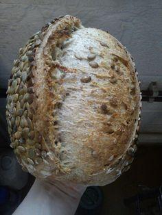 Pumpkin seed bread with pumpkin oil, made by Seven Hills Bakery in Sheffield.