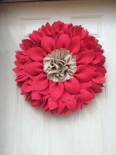 Sunflower Wreath  Red Burlap Sunflower Wreath by ValsShabbyShack