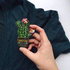 "102 Likes, 8 Comments - Броши Вышивка Brooch (@takeabrooch) on Instagram: ""Куда пропали зеленые кактусы? Поселились на тёплые свитера и растут теперь там Цена -420 грн."""