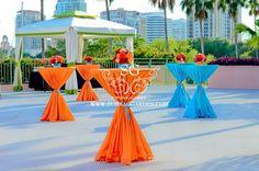 Suhaag Garden, Indian wedding decorator, Sangeet Centerpieces, Orange and Blue, Florida Outdoor Sangeet, Outdoore Mehndi, Indian Wedding Decorator