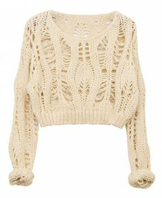 Ice-cream Color Hollow Out Batwing Sleeves Pullover - Knitwear - Clothing