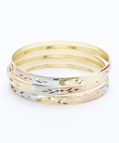 Look what I found on #zulily! Tri-Tone Star Engraved Bangle - Set of Three #zulilyfinds