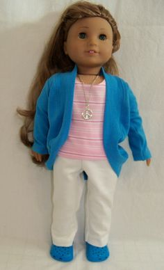 Casual Outfit Of Pants, Tee, and Slouch Cardigan Made For American Girl Dolls. $32.50, via Etsy.