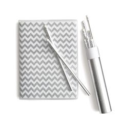 Silver glitter chevron notebook and matching pencils...be still my stationary loving heart