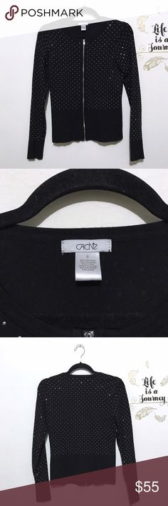 Cache Rhinestone Embellished Zipper Sweater Cute and sparkly this silver crystal studded full zip black sweater is perfect for a fun night out! Excellent, like new condition! Pit to pit: 16 in. Length, shoulder to hem: 22.5 in. Sleeve, pit to cuff: 19 in. Cache Sweaters Cardigans