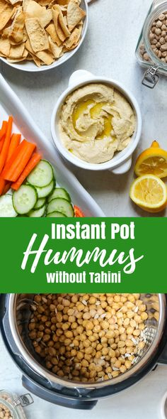 Instant Pot Hummus--This easy recipe for pressure cooker hummus is going to BLOW your mind! Made with dried chick-peas and wait for it-----sunflower seeds, this hummus recipe without tahini is going to become your new FAVORITE hummus recipe. You won't believe how easy restaurant quality hummus is to make at home.  #amindfullmom #hummus #instantpot #pressurecooker via @amindfullmom