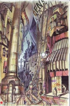 Enjoy a Gallery of 40 Original Concept Art made for classic Sci-Fi movie: The Fifth Element. The gallery is featuring some work of French Artist Jean-Claud Classic Sci Fi Movies, Conceptual Sketches, Concept Art Gallery, Fifth Element, Landscape Drawings, Landscapes, French Artists, Urban Landscape, Decoration